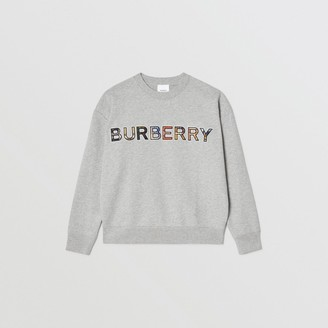 Burberry Childrens Check Logo Cotton Sweatshirt