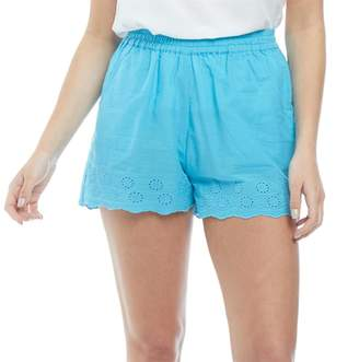 Board Angels Womens Cotton Shorts with Broderie Anglaise Hem Trim Blue