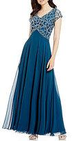 J Kara V-Neck Beaded Bodice Chiffon Gown