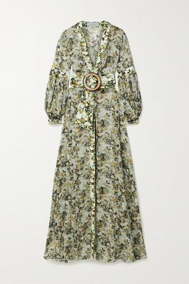Silvia Tcherassi Farolillo Belted Silk-blend Chiffon And Cotton-blend Maxi Dress - Army green