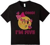 Kids Emoji 5th Birthday Girl Glitter Shirt-OMG!I'm Five