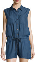 Velvet Heart Destiny Chambray Drawstring Short Jumpsuit, Navy