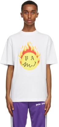 Palm Angels White Smiley Edition Burning Head Logo T-Shirt