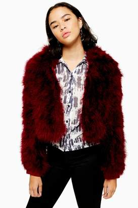 Topshop Womens Petite Crop Marabou Jacket - Berry Red
