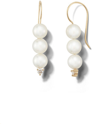 Mizuki Three Akoya Pearl and Diamond Yellow Gold Drop Earrings