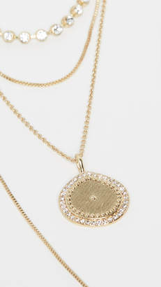 Luv Aj The Layered Pave Coin Necklace