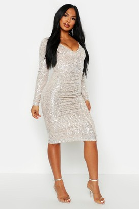 boohoo All Over Sequin Ruched Midi Dress