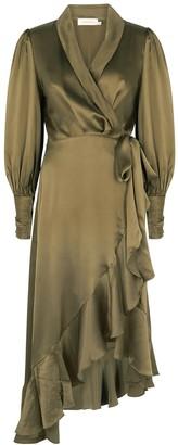 Zimmermann Black ruffle-trimmed silk wrap dress