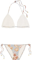 Zimmermann Pavilion Crocheted Cotton And Floral-print Bikini - Off-white