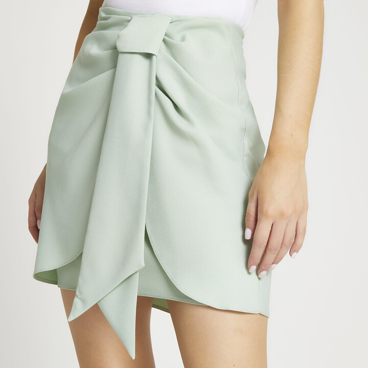 Thumbnail for your product : River Island Womens Petite Green knotted wrap skirt
