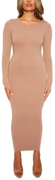 Naked Wardrobe Scoop-Back Bodycon Midi Dress