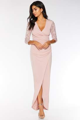 Quiz Blush Pink Sequin Lace 3/4 Sleeve Maxi Dress