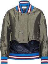 Esteban Cortazar Asymmetric Satin Bomber Jacket - Green