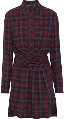 Rag & Bone Felicity Tie-back Checked Flannel Mini Shirt Dress