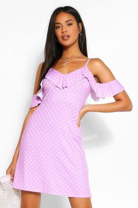 boohoo Polka Dot Cold Shoulder Frill Skater Dress