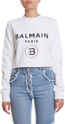 Balmain Cropped Logo Sweatshirt