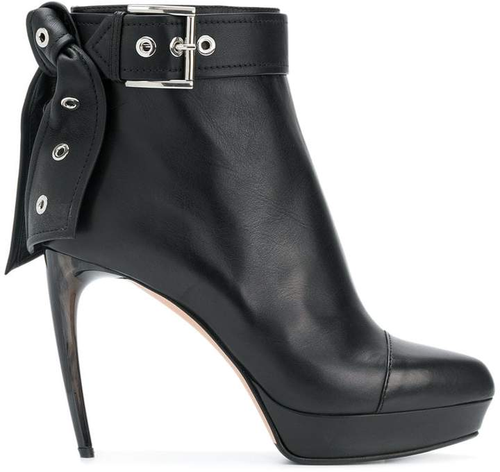 Alexander McQueen leather tie ankle boots