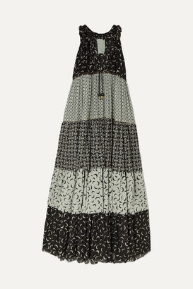 Yvonne S Hippy Tiered Printed Cotton Maxi Dress - Black