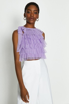 Coast Tiered Tulle Tie Neck Top