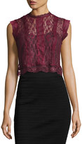 Romeo & Juliet Couture Sheer Lace Paneled Crop Top, Burgundy