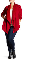 Bobeau Fleece Drape Jacket (Plus Size)