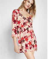 Express floral print sweetheart neckline bell sleeve dress