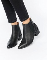 Selected Lena Black Leather Grained Ankle Boots