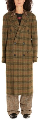 R 13 Checked Animalier Detail Coat