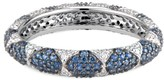 Ri Noor Lotus Eternity Band With White Diamond Petals & Pave Blue Sapphires