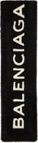 Balenciaga Black Shearling Logo Scarf