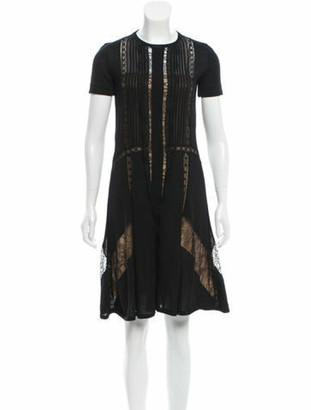 Alberta Ferretti Lace-Trimmed Wool Dress Black