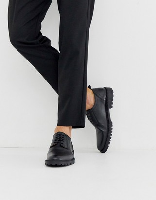 Selected chunky sole leather derby shoes in black