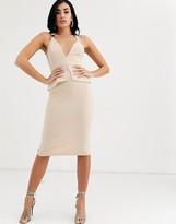 Asos Design DESIGN buckle detail cutabout pencil midi dress
