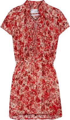 IRO Releila Lace-up Floral-print Gauze Mini Dress