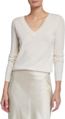 Neiman Marcus Classic V-Neck Cashmere Sweater