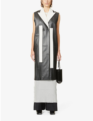 Hyun Mi Nielsen Patchwork sleeveless faux-leather coat
