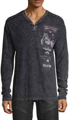 Affliction Graphic Long-Sleeve Cotton Henley
