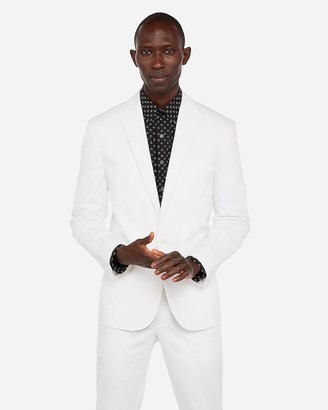 Express Slim White Performance Cotton Blend Stretch Blazer