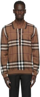Burberry Brown Intarsia Check Polo