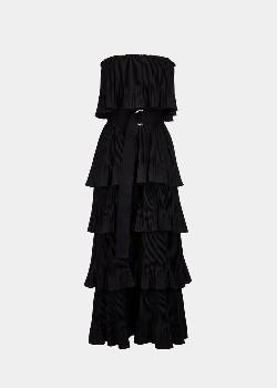 Essentiel Black Tiered Strapless Dress - 34