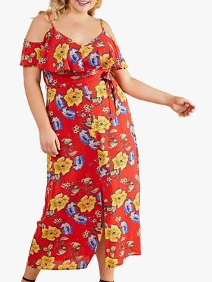 Yumi Curves Cold Floral Print Maxi Dress