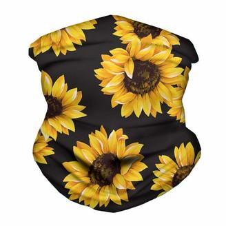 URSING Bandana 3D Funny Sunflower Pattern Tube Scarf Headband Sport Running Snood Elastic Headwear Bandana Neck Gaiters UV Resistence Balaclava for Running Cycling Outdoors Cycling Black