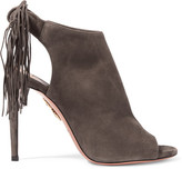 Aquazzura Fringed Suede Sandals - Dark gray