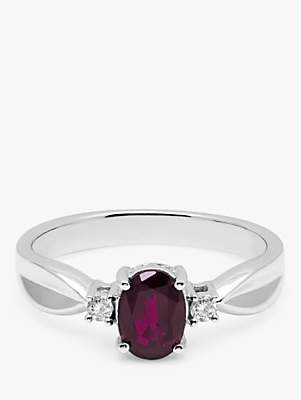 A B Davis 9ct White Gold Oval Ruby and Diamond Shoulder Ring