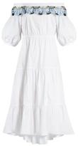 Peter Pilotto Off-the-shoulder macramé lace-trimmed cotton dress