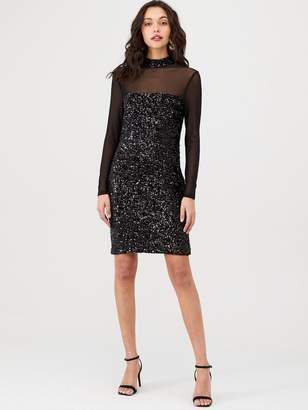 Warehouse Velvet Sequin Mesh Sleeve Dress - Black