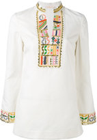 Tory Burch mandarin neck blouse - women - Cotton/Linen/Flax/Polyester - 4