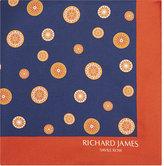 Richard James Compass Print Silk Pocket Square