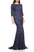 Theia Women's Satin Applique Gown