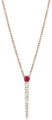 Melissa Kaye Aria 18K Rose Gold, Diamond & Ruby Bar Pendant Necklace